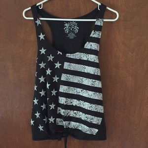 On fire American flag tank top size large